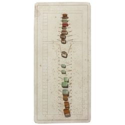 Vintage Czech 1930's sample card satin atlas bicolor faceted glass beads