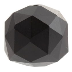 Large Swarovski antique hand faceted matte black round glass bead 20mm